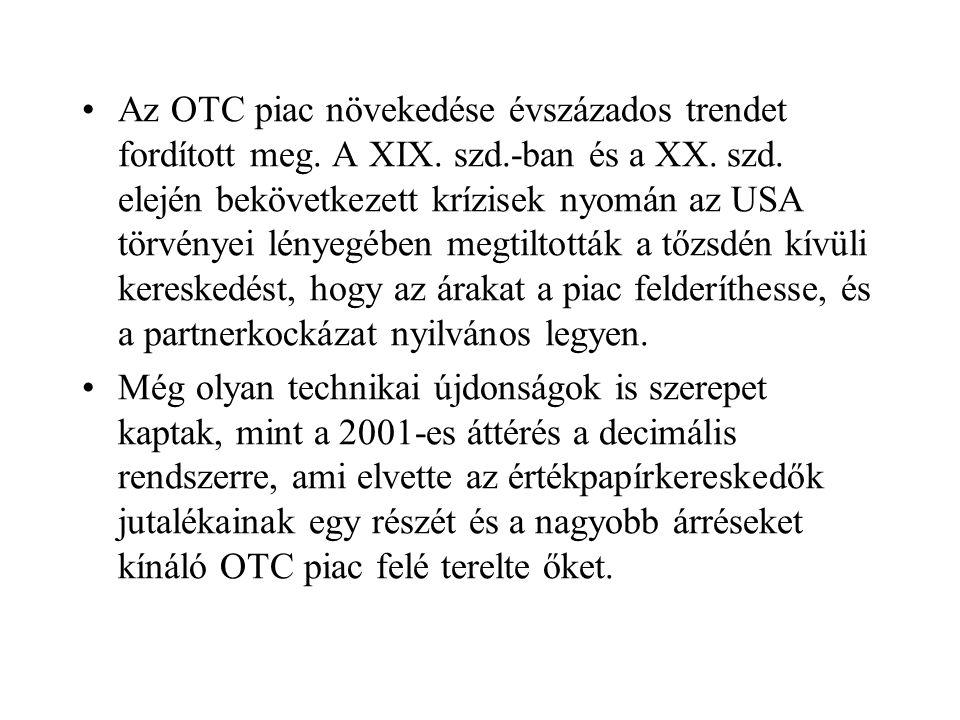 Az OTC piac növekedése évszázados trendet fordított meg.