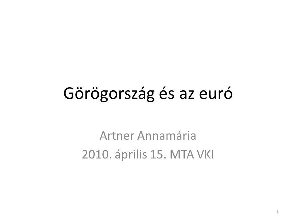 Görögország és az euró Artner Annamária 2010. április 15. MTA VKI 1
