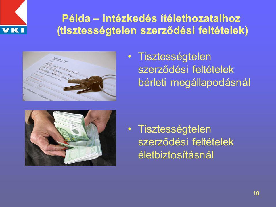 10 Tisztességtelen szerződési feltételek bérleti megállapodásnál Tisztességtelen szerződési feltételek életbiztosításnál Példa – intézkedés ítélethozatalhoz (tisztességtelen szerződési feltételek)