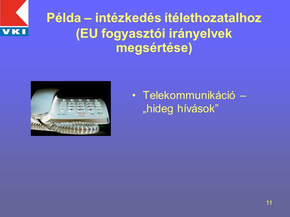 """11 Telekommunikáció – """"hideg hívások Példa – intézkedés ítélethozatalhoz (EU fogyasztói irányelvek megsértése)"""