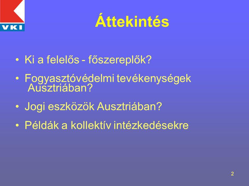 2 Áttekintés Ki a felelős - főszereplők. Fogyasztóvédelmi tevékenységek Ausztriában.