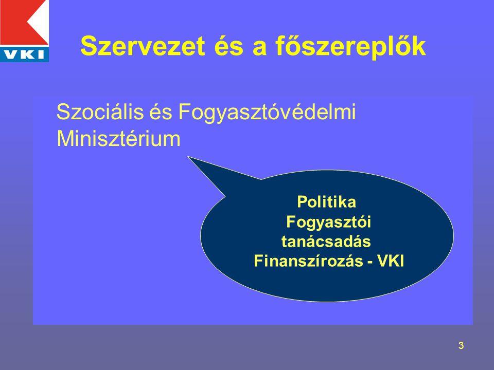3 Szervezet és a főszereplők Szociális és Fogyasztóvédelmi Minisztérium Politika Fogyasztói tanácsadás Finanszírozás - VKI