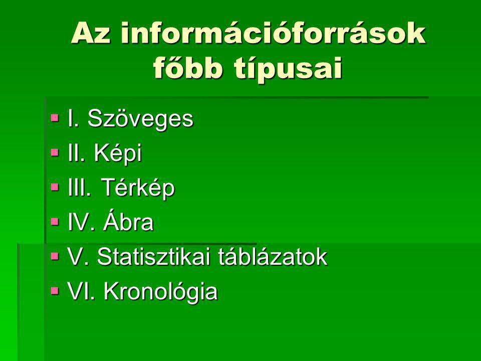 Az információforrások főbb típusai  I. Szöveges  II. Képi  III. Térkép  IV. Ábra  V. Statisztikai táblázatok  VI. Kronológia