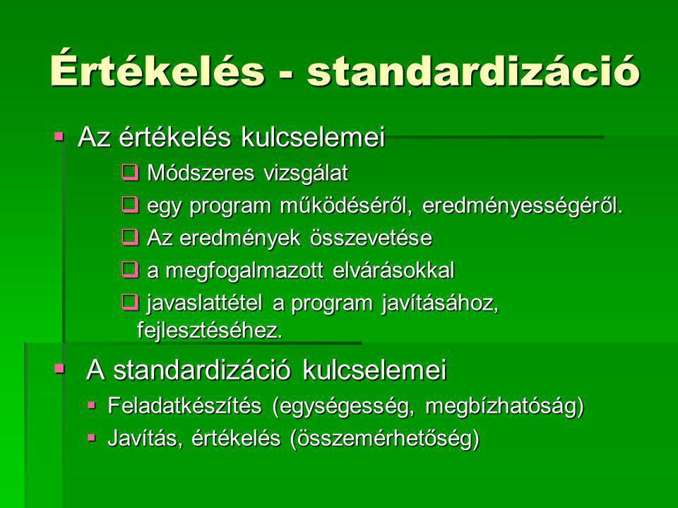 Értékelés - standardizáció  Az értékelés kulcselemei  Módszeres vizsgálat  egy program működéséről, eredményességéről.  Az eredmények összevetése
