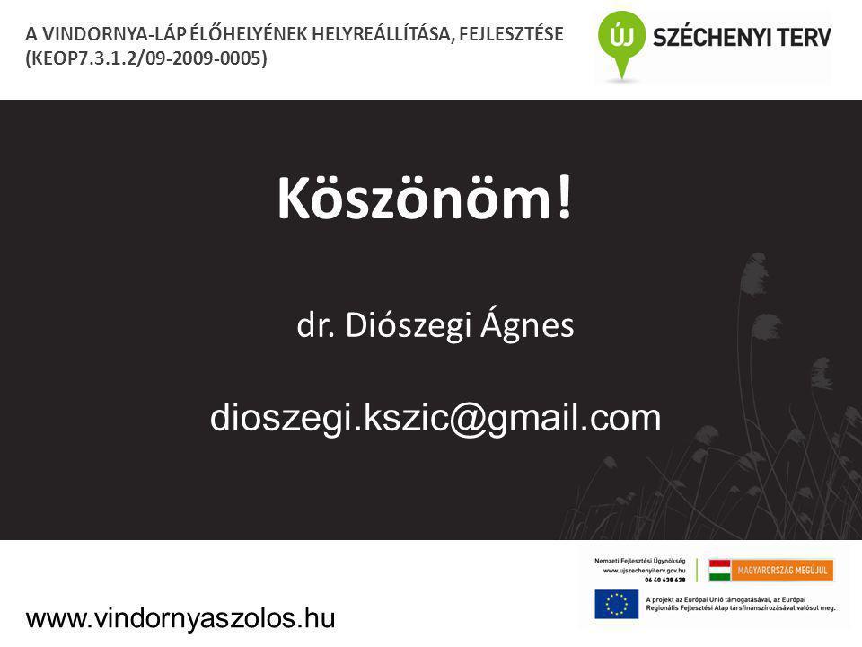 Köszönöm! dr. Diószegi Ágnes dioszegi.kszic@gmail.com A VINDORNYA-LÁP ÉLŐHELYÉNEK HELYREÁLLÍTÁSA, FEJLESZTÉSE (KEOP7.3.1.2/09-2009-0005) www.vindornya