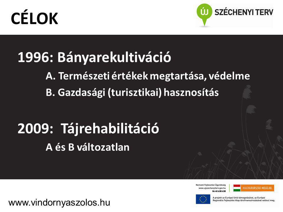 1996: Bányarekultiváció A. Természeti értékek megtartása, védelme B. Gazdasági (turisztikai) hasznosítás 2009: Tájrehabilitáció A és B változatlan CÉL