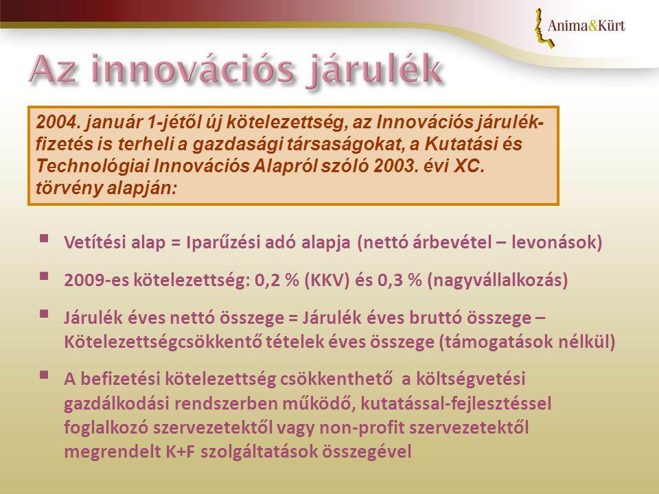 Az Innovációs Alap 2007-ben 36,655 milliárd Ft Ebből a gazdasági társaságok által befizetett innovációs járulék 23,383 milliárd Ft Az Innovációs járulékot az NKTH kezeli 2004.