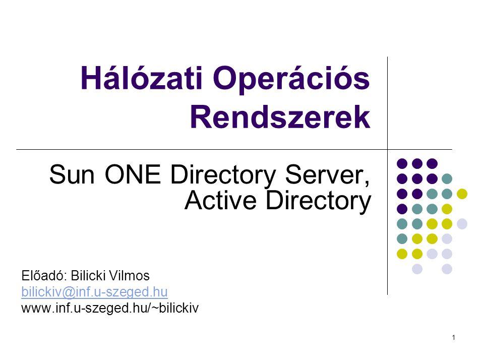 1 Hálózati Operációs Rendszerek Sun ONE Directory Server, Active Directory Előadó: Bilicki Vilmos bilickiv@inf.u-szeged.hu www.inf.u-szeged.hu/~bilickiv