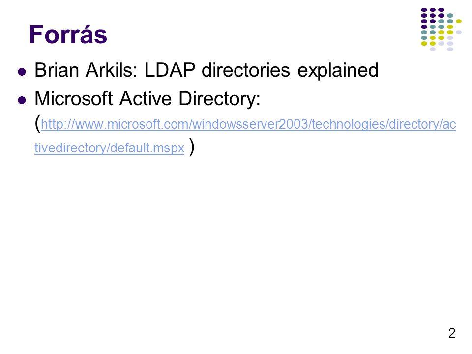 13 Műveletek, Kliensek LDAP v3 kompatibils A klinesek nagyon jól integrálják a cimtár szolgáltatásait Azonositas Kereső segitő Cimjegyzék Nyomtató keresés Megosztott mappák DFS, … Komoly programozói támogatás ADSI Active Directory Services Interface – cimtár független is tud lenni LDAP API SDK Vezérlők (16): Statisztika Lusta módositás Törölt objektumok visszaadása … Exchange integrálás Levelezés Naptár Üzenetküldés, …