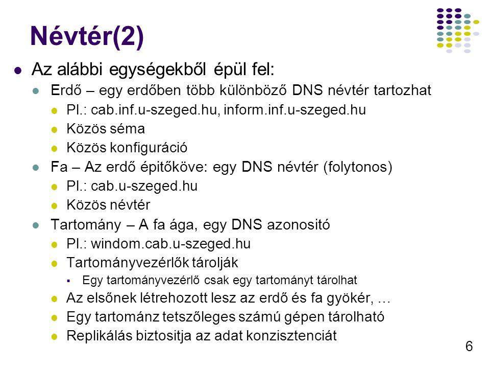 6 Névtér(2) Az alábbi egységekből épül fel: Erdő – egy erdőben több különböző DNS névtér tartozhat Pl.: cab.inf.u-szeged.hu, inform.inf.u-szeged.hu Közös séma Közös konfiguráció Fa – Az erdő épitőköve: egy DNS névtér (folytonos) Pl.: cab.u-szeged.hu Közös névtér Tartomány – A fa ága, egy DNS azonositó Pl.: windom.cab.u-szeged.hu Tartományvezérlők tárolják  Egy tartományvezérlő csak egy tartományt tárolhat Az elsőnek létrehozott lesz az erdő és fa gyökér, … Egy tartománz tetszőleges számú gépen tárolható Replikálás biztositja az adat konzisztenciát
