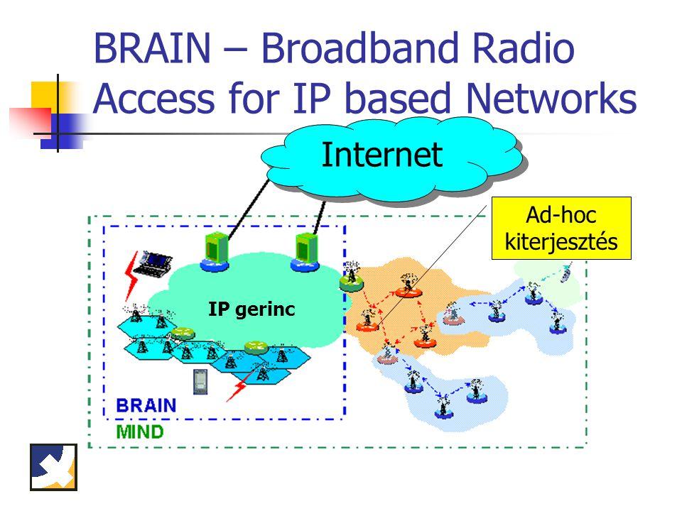 BRAIN – Broadband Radio Access for IP based Networks Internet IP gerinc Ad-hoc kiterjesztés