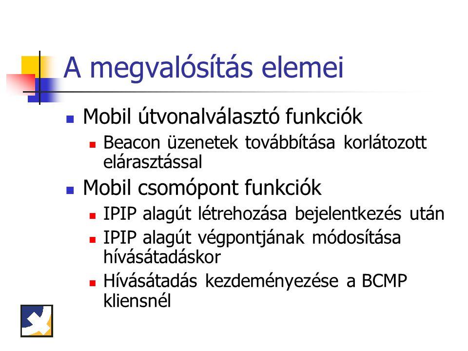 A megvalósítás elemei Mobil útvonalválasztó funkciók Beacon üzenetek továbbítása korlátozott elárasztással Mobil csomópont funkciók IPIP alagút létrehozása bejelentkezés után IPIP alagút végpontjának módosítása hívásátadáskor Hívásátadás kezdeményezése a BCMP kliensnél