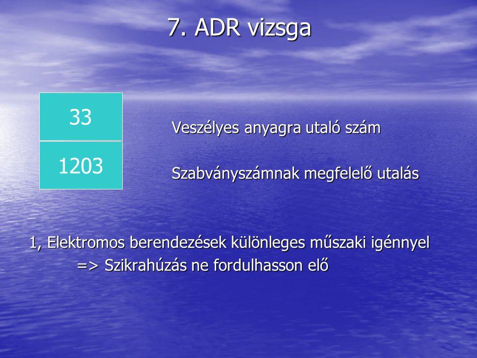 7. ADR vizsga Veszélyes anyagra utaló szám Szabványszámnak megfelelő utalás 1, Elektromos berendezések különleges műszaki igénnyel => Szikrahúzás ne f