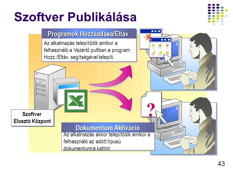 44 A Csoportházirend Használata alkalmazás telepítésére Szoftver Telepítése A megfelelő Géphez, vagy Felhasználóhoz kötődő GPO létrehozása/módosítása A telepítendő csomag kiválasztása A telepítési mód kiválasztása A szoftver tulajdonságainak konfigurálása Telepítés Típus Telepítés Opció