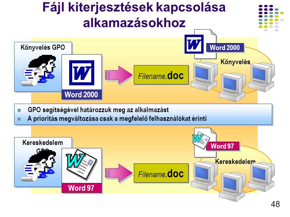 49 A Telepített Szoftver frissítése A felhasználók csak a 2.0-ást használhatják A felhasználók dönthetnek a használt verzióról Kötelező Telepítés Választható Frissítés Az 1.0-ás verzió fut A 2.0-ás települ