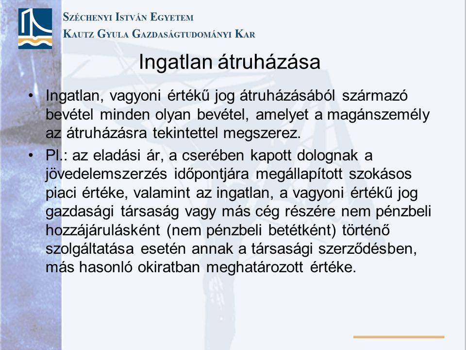 Ingatlan átruházása Ingatlan, vagyoni értékű jog átruházásából származó bevétel minden olyan bevétel, amelyet a magánszemély az átruházásra tekintettel megszerez.