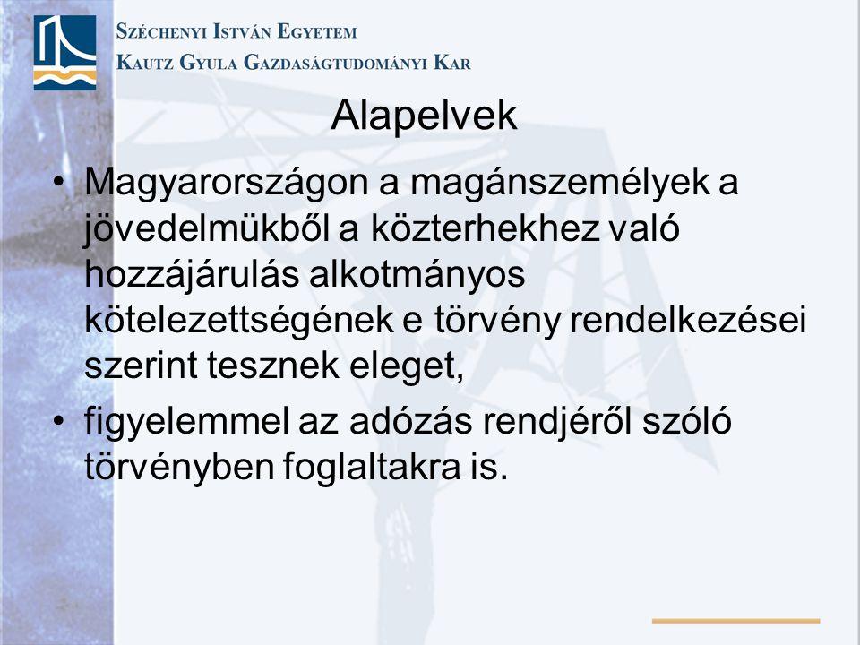 Alapelvek Magyarországon a magánszemélyek a jövedelmükből a közterhekhez való hozzájárulás alkotmányos kötelezettségének e törvény rendelkezései szeri