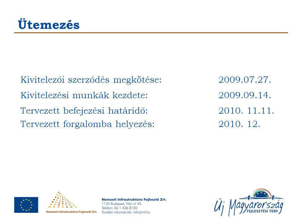 Ütemezés Kivitelezői szerződés megkötése:2009.07.27. Kivitelezési munkák kezdete:2009.09.14. Tervezett befejezési határidő:2010. 11.11. Tervezett forg