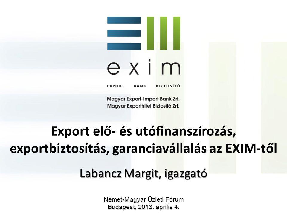 Export elő- és utófinanszírozás, exportbiztosítás, garanciavállalás az EXIM-től Labancz Margit, igazgató Német-Magyar Üzleti Fórum Budapest, 2013. ápr