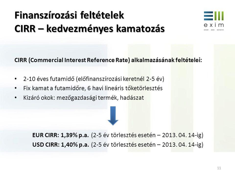 Finanszírozási feltételek CIRR – kedvezményes kamatozás 11 CIRR (Commercial Interest Reference Rate) alkalmazásának feltételei: 2-10 éves futamidő (el