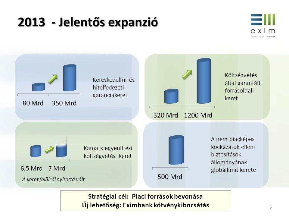 5 2013 - Jelentős expanzió Költségvetés által garantált forrásoldali keret Kereskedelmi és hitelfedezeti garanciakeret A nem piacképes kockázatok elle