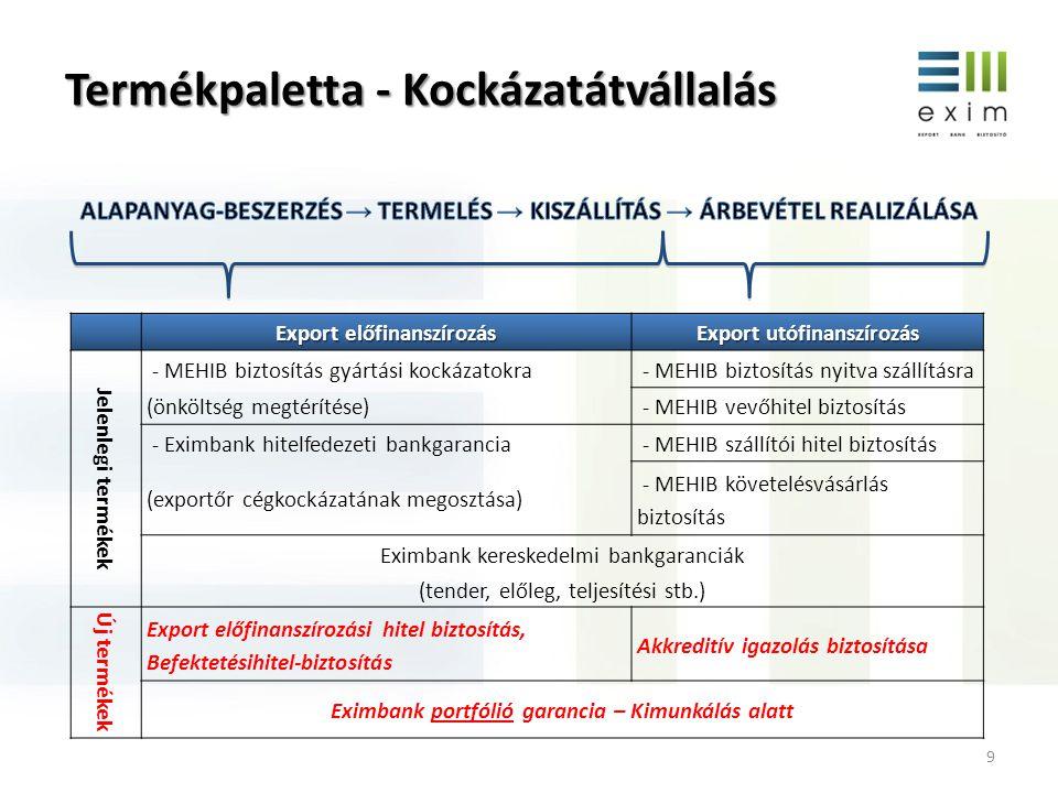 Termékpaletta - Kockázatátvállalás 9 Export előfinanszírozás Export utófinanszírozás Jelenlegi termékek - MEHIB biztosítás gyártási kockázatokra - MEH
