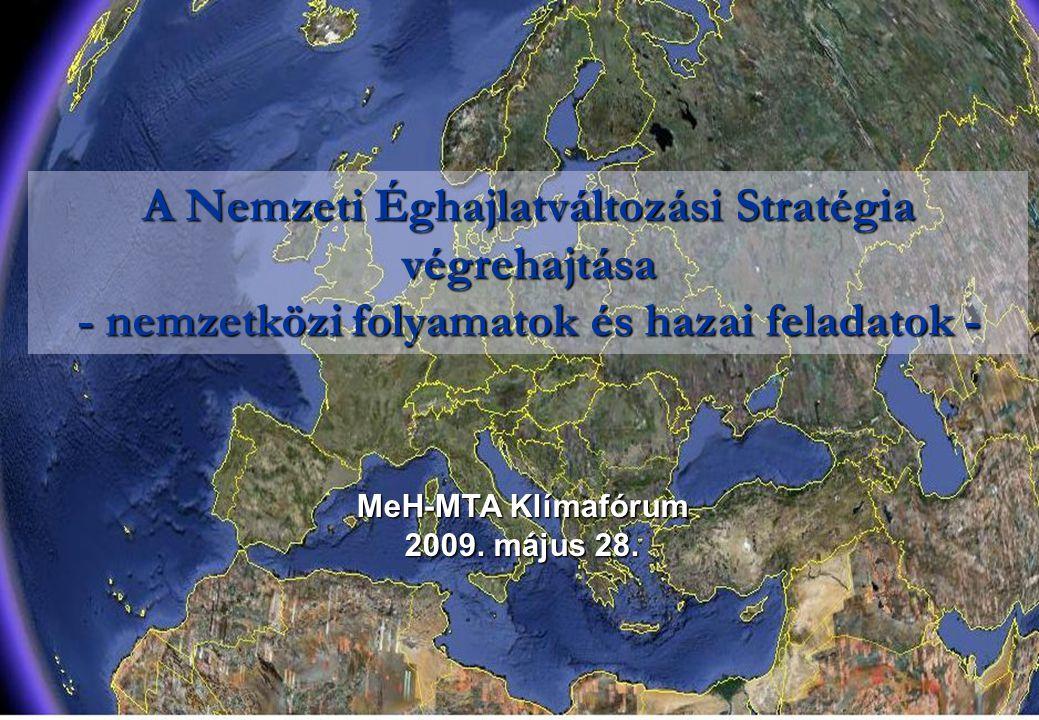 A Nemzeti Éghajlatváltozási Stratégia végrehajtása - nemzetközi folyamatok és hazai feladatok - MeH-MTA Klímafórum 2009. május 28.