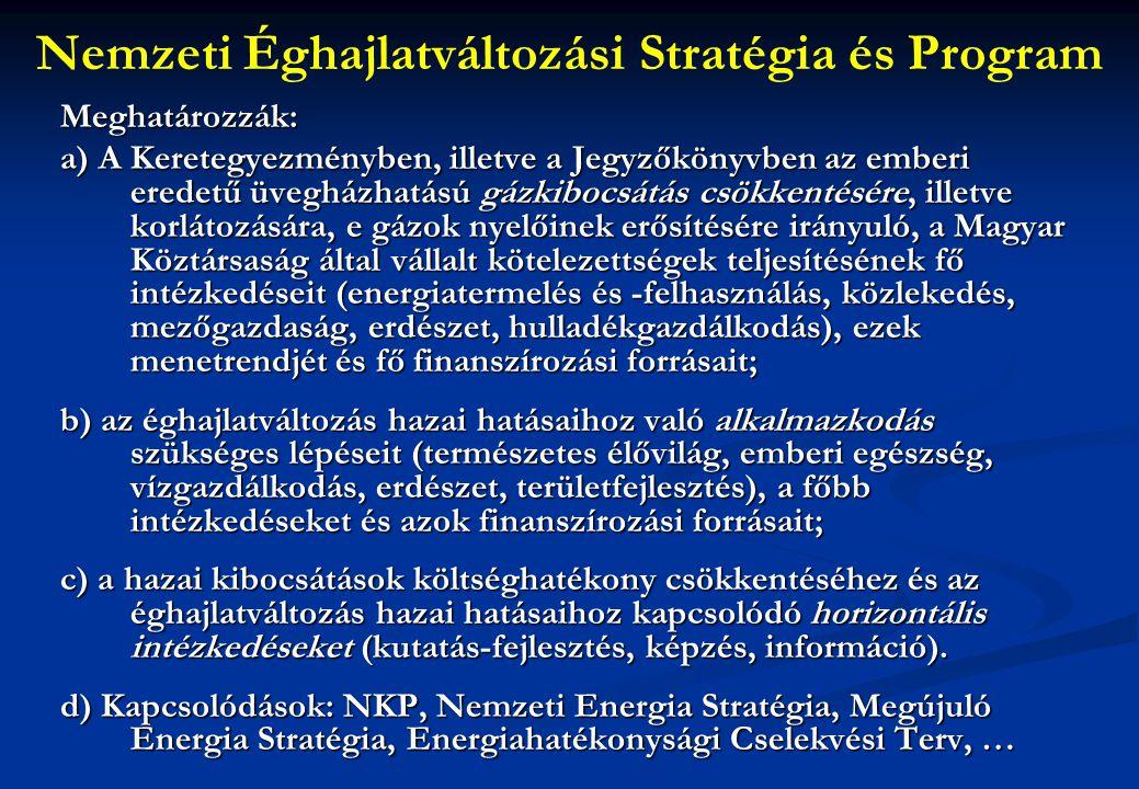 Nemzeti Éghajlatváltozási Stratégia és ProgramMeghatározzák: a) A Keretegyezményben, illetve a Jegyzőkönyvben az emberi eredetű üvegházhatású gázkibocsátás csökkentésére, illetve korlátozására, e gázok nyelőinek erősítésére irányuló, a Magyar Köztársaság által vállalt kötelezettségek teljesítésének fő intézkedéseit (energiatermelés és -felhasználás, közlekedés, mezőgazdaság, erdészet, hulladékgazdálkodás), ezek menetrendjét és fő finanszírozási forrásait; b) az éghajlatváltozás hazai hatásaihoz való alkalmazkodás szükséges lépéseit (természetes élővilág, emberi egészség, vízgazdálkodás, erdészet, területfejlesztés), a főbb intézkedéseket és azok finanszírozási forrásait; c) a hazai kibocsátások költséghatékony csökkentéséhez és az éghajlatváltozás hazai hatásaihoz kapcsolódó horizontális intézkedéseket (kutatás-fejlesztés, képzés, információ).