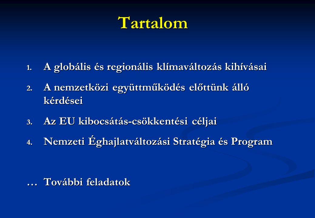 Tartalom 1. A globális és regionális klímaváltozás kihívásai 2. A nemzetközi együttműködés előttünk álló kérdései 3. Az EU kibocsátás-csökkentési célj