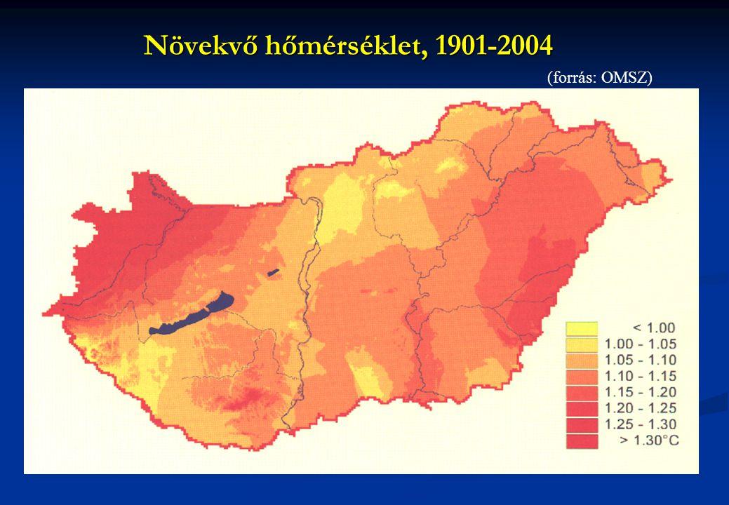 Növekvő hőmérséklet, 1901-2004 (forrás: OMSZ)