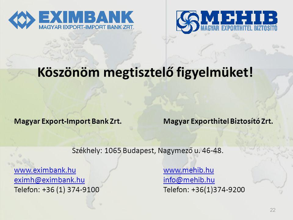 22 Köszönöm megtisztelő figyelmüket! Magyar Export-Import Bank Zrt.Magyar Exporthitel Biztosító Zrt. Székhely: 1065 Budapest, Nagymező u. 46-48. www.e