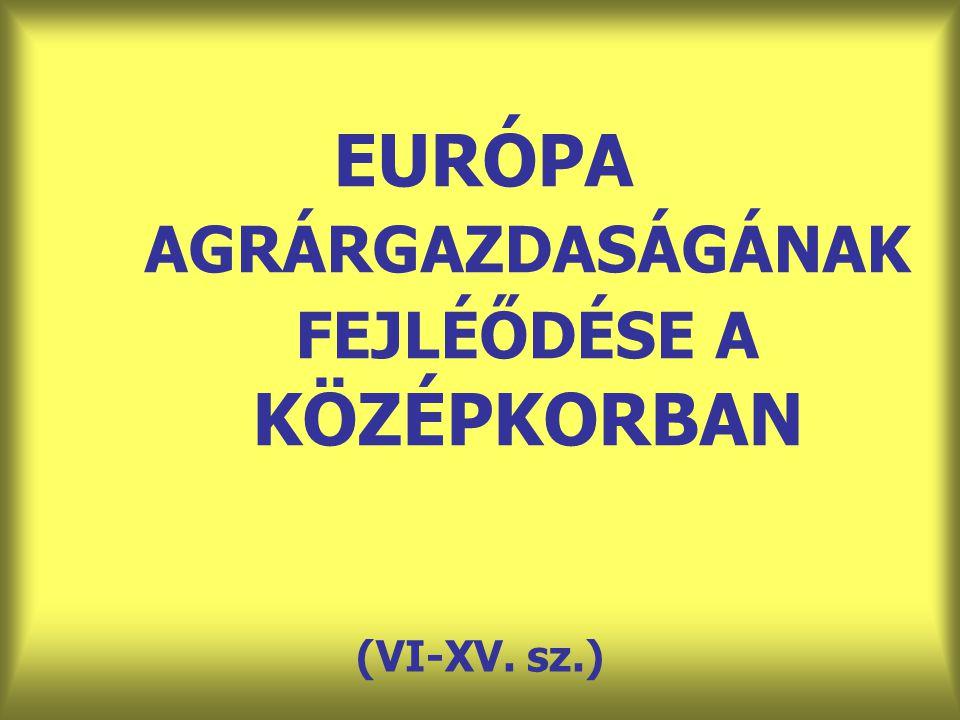 EURÓPA AGRÁRGAZDASÁGÁNAK FEJLÉŐDÉSE A KÖZÉPKORBAN (VI-XV. sz.)