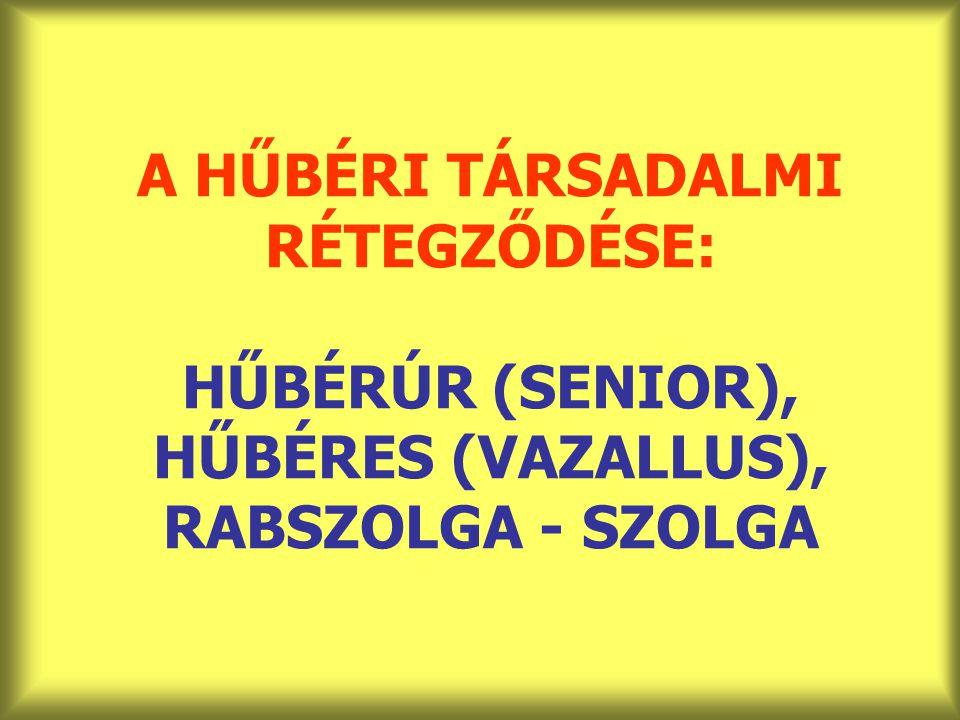 A HŰBÉRI TÁRSADALMI RÉTEGZŐDÉSE: HŰBÉRÚR (SENIOR), HŰBÉRES (VAZALLUS), RABSZOLGA - SZOLGA