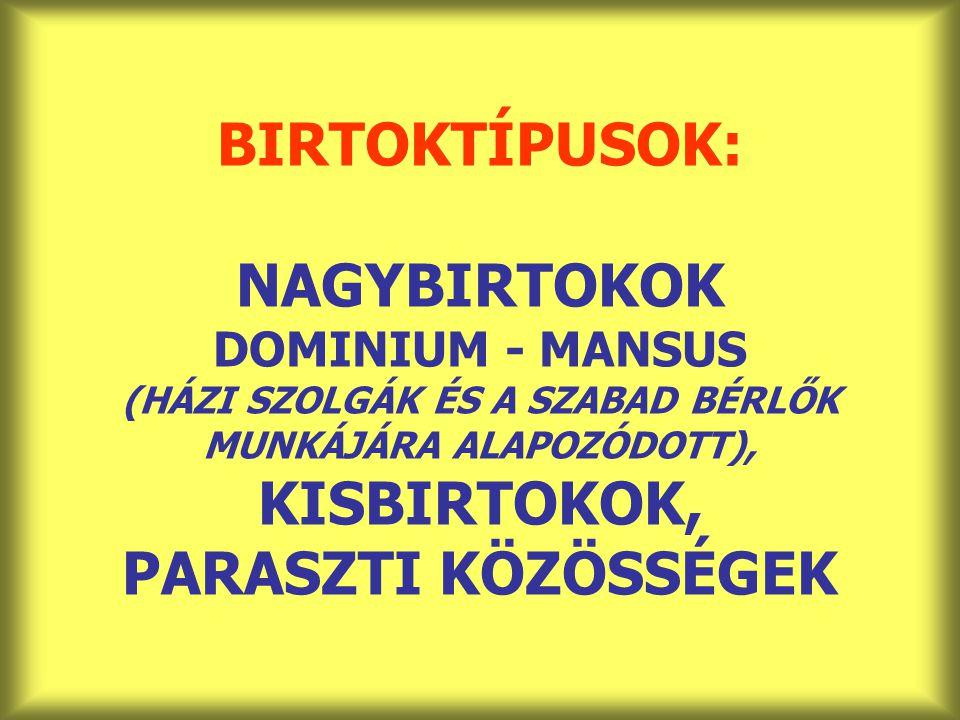 BIRTOKTÍPUSOK: NAGYBIRTOKOK DOMINIUM - MANSUS (HÁZI SZOLGÁK ÉS A SZABAD BÉRLŐK MUNKÁJÁRA ALAPOZÓDOTT), KISBIRTOKOK, PARASZTI KÖZÖSSÉGEK