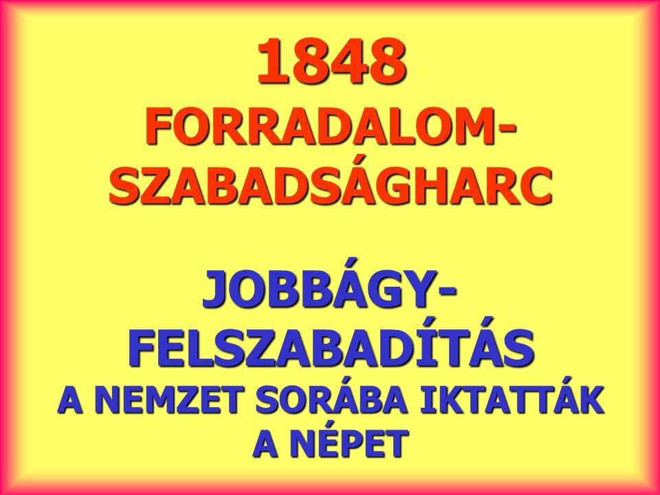 1848 FORRADALOM- SZABADSÁGHARC JOBBÁGY- FELSZABADÍTÁS A NEMZET SORÁBA IKTATTÁK A NÉPET