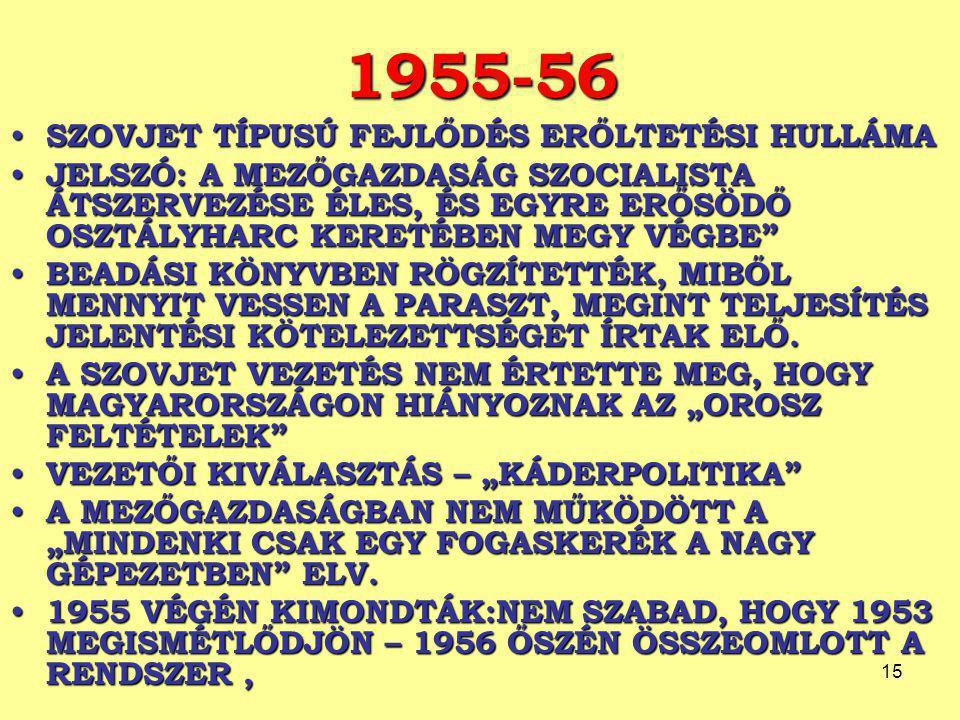 15 1955-56 SZOVJET TÍPUSÚ FEJLŐDÉS ERŐLTETÉSI HULLÁMA SZOVJET TÍPUSÚ FEJLŐDÉS ERŐLTETÉSI HULLÁMA JELSZÓ: A MEZŐGAZDASÁG SZOCIALISTA ÁTSZERVEZÉSE ÉLES, ÉS EGYRE ERŐSÖDŐ OSZTÁLYHARC KERETÉBEN MEGY VÉGBE JELSZÓ: A MEZŐGAZDASÁG SZOCIALISTA ÁTSZERVEZÉSE ÉLES, ÉS EGYRE ERŐSÖDŐ OSZTÁLYHARC KERETÉBEN MEGY VÉGBE BEADÁSI KÖNYVBEN RÖGZÍTETTÉK, MIBŐL MENNYIT VESSEN A PARASZT, MEGINT TELJESÍTÉS JELENTÉSI KÖTELEZETTSÉGET ÍRTAK ELŐ.