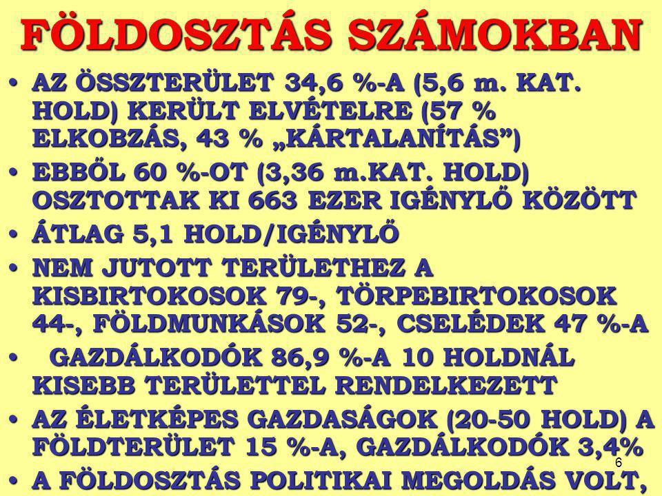 6 FÖLDOSZTÁS SZÁMOKBAN AZ ÖSSZTERÜLET 34,6 %-A (5,6 m.