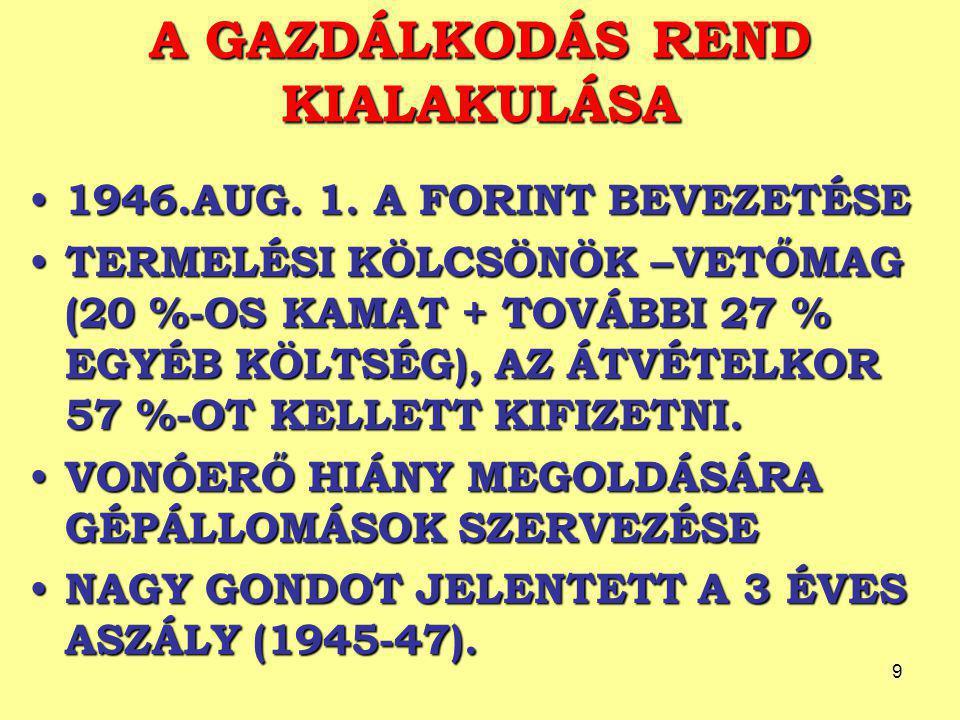 """10 SZOVJET MINTÁRA TÖRTÉNŐ SZERVEZÉS ELSŐ JELEI 1948-RA STABILIZÁLÓDOTT A POLITIKAI HELYZET 1948-RA STABILIZÁLÓDOTT A POLITIKAI HELYZET IPAR, KERESKEDELEM: ÁLLAMOSÍTÁS, MEZŐGAZDASÁG – """"KULÁKTALANÍTÁS IPAR, KERESKEDELEM: ÁLLAMOSÍTÁS, MEZŐGAZDASÁG – """"KULÁKTALANÍTÁS A SZÖVETKEZETEK KISZOLGÁLTATOTTAKKÁ TETTÉK A TAGOKAT – NÉPSZERŰTLENEK VOLTAK, NEM VOLT MEGOLDOTT AZ ÖREGKORI ELLÁTÁS A SZÖVETKEZETEK KISZOLGÁLTATOTTAKKÁ TETTÉK A TAGOKAT – NÉPSZERŰTLENEK VOLTAK, NEM VOLT MEGOLDOTT AZ ÖREGKORI ELLÁTÁS AZ ÖNKÉNTESSÉG TERVE MEGBUKOTT AZ ÖNKÉNTESSÉG TERVE MEGBUKOTT"""