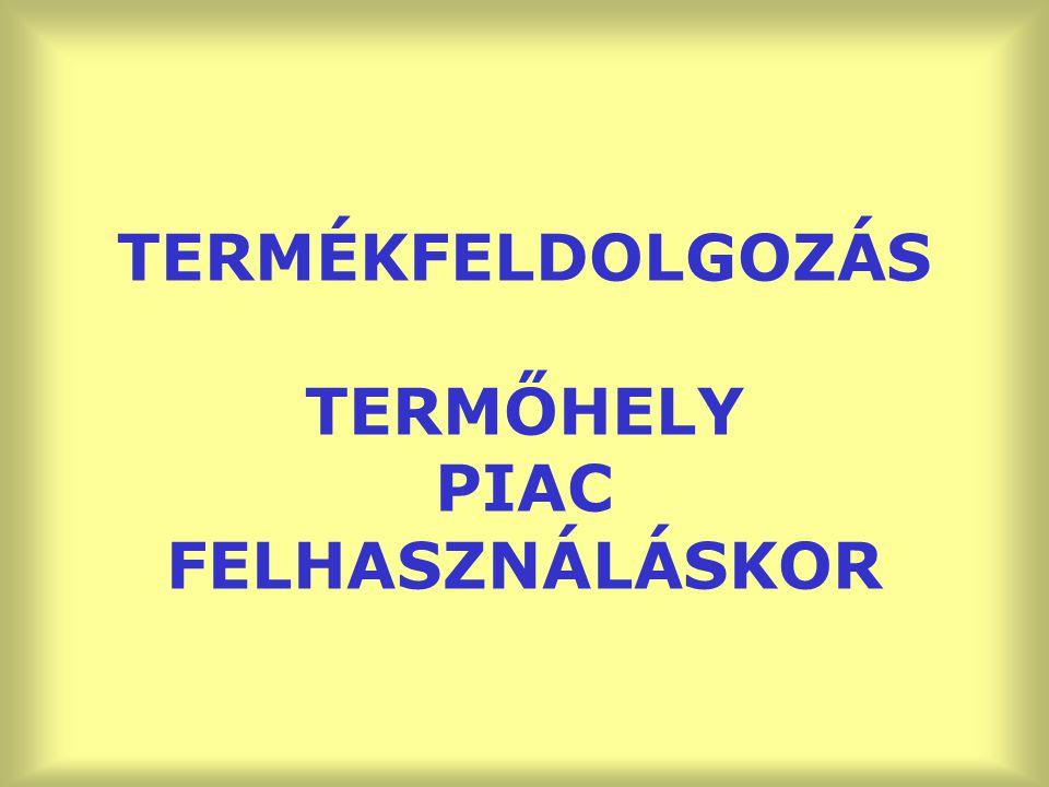 TERMÉKFELDOLGOZÁS TERMŐHELY PIAC FELHASZNÁLÁSKOR