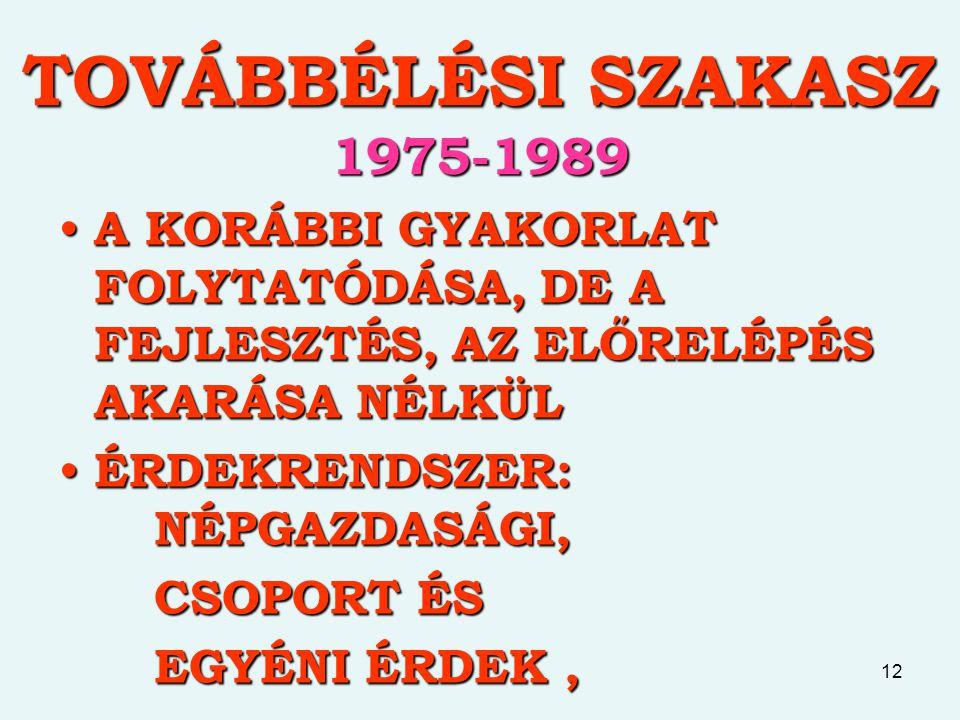 12 TOVÁBBÉLÉSI SZAKASZ 1975-1989 A KORÁBBI GYAKORLAT FOLYTATÓDÁSA, DE A FEJLESZTÉS, AZ ELŐRELÉPÉS AKARÁSA NÉLKÜL A KORÁBBI GYAKORLAT FOLYTATÓDÁSA, DE