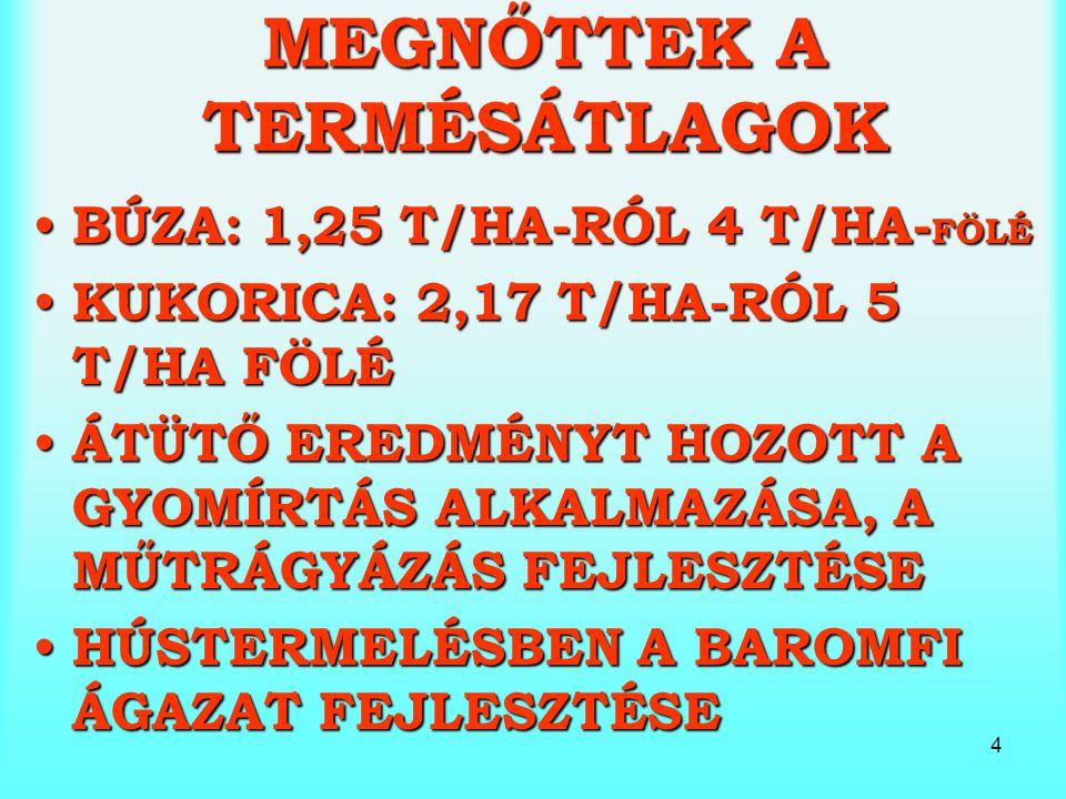 4 MEGNŐTTEK A TERMÉSÁTLAGOK BÚZA: 1,25 T/HA-RÓL 4 T/HA- FÖLÉ BÚZA: 1,25 T/HA-RÓL 4 T/HA- FÖLÉ KUKORICA: 2,17 T/HA-RÓL 5 T/HA FÖLÉ KUKORICA: 2,17 T/HA-