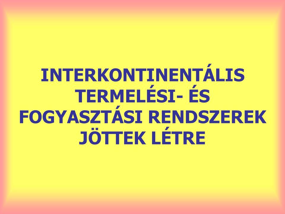 INTERKONTINENTÁLIS TERMELÉSI- ÉS FOGYASZTÁSI RENDSZEREK JÖTTEK LÉTRE