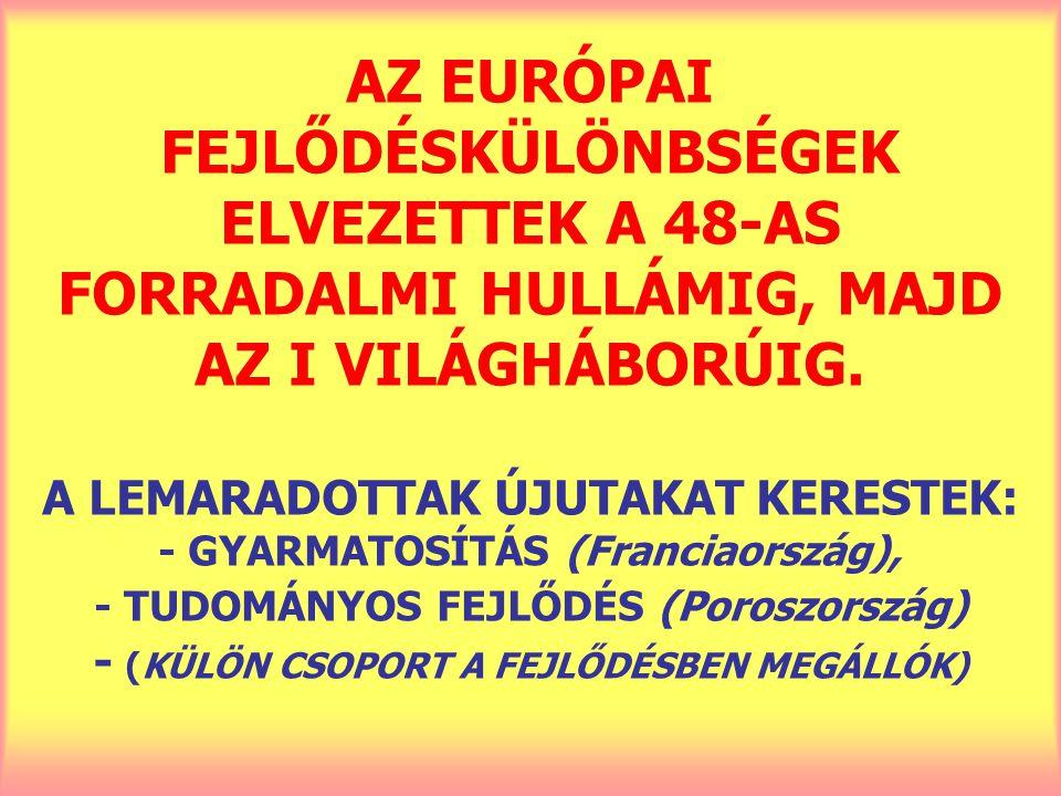 AZ EURÓPAI FEJLŐDÉSKÜLÖNBSÉGEK ELVEZETTEK A 48-AS FORRADALMI HULLÁMIG, MAJD AZ I VILÁGHÁBORÚIG. A LEMARADOTTAK ÚJUTAKAT KERESTEK: - GYARMATOSÍTÁS (Fra