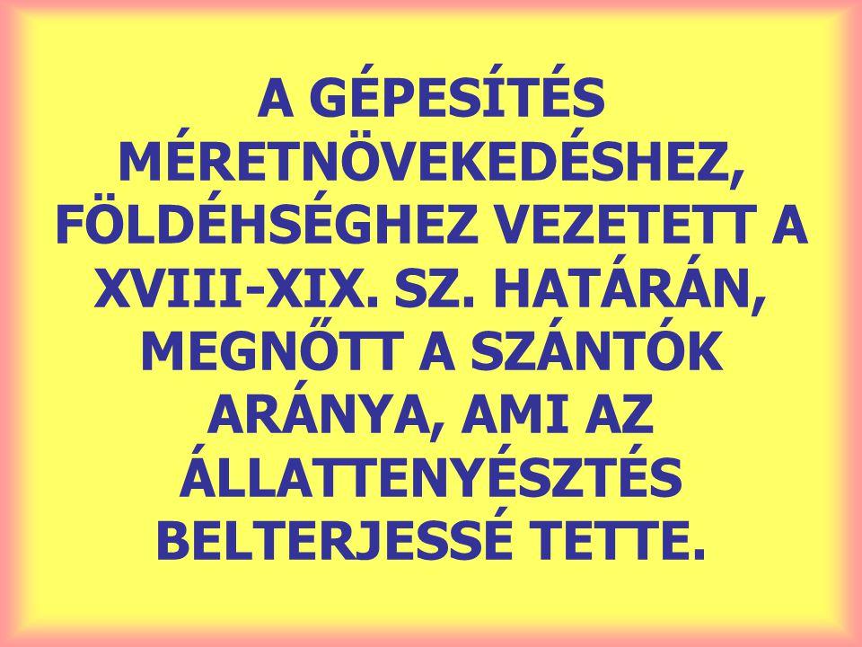 A GÉPESÍTÉS MÉRETNÖVEKEDÉSHEZ, FÖLDÉHSÉGHEZ VEZETETT A XVIII-XIX.