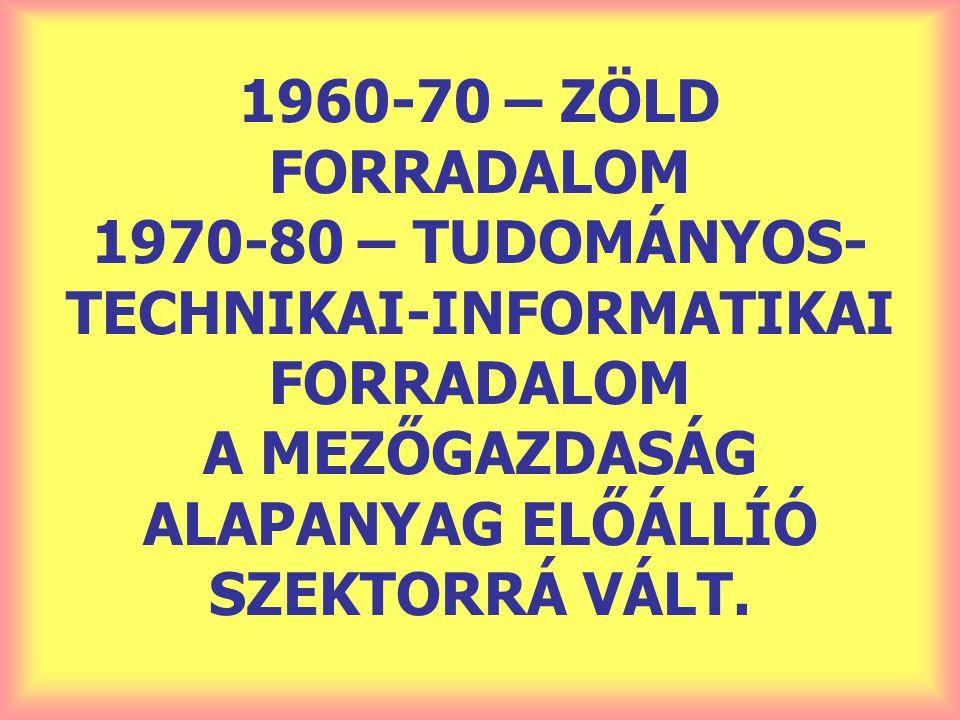 1960-70 – ZÖLD FORRADALOM 1970-80 – TUDOMÁNYOS- TECHNIKAI-INFORMATIKAI FORRADALOM A MEZŐGAZDASÁG ALAPANYAG ELŐÁLLÍÓ SZEKTORRÁ VÁLT.