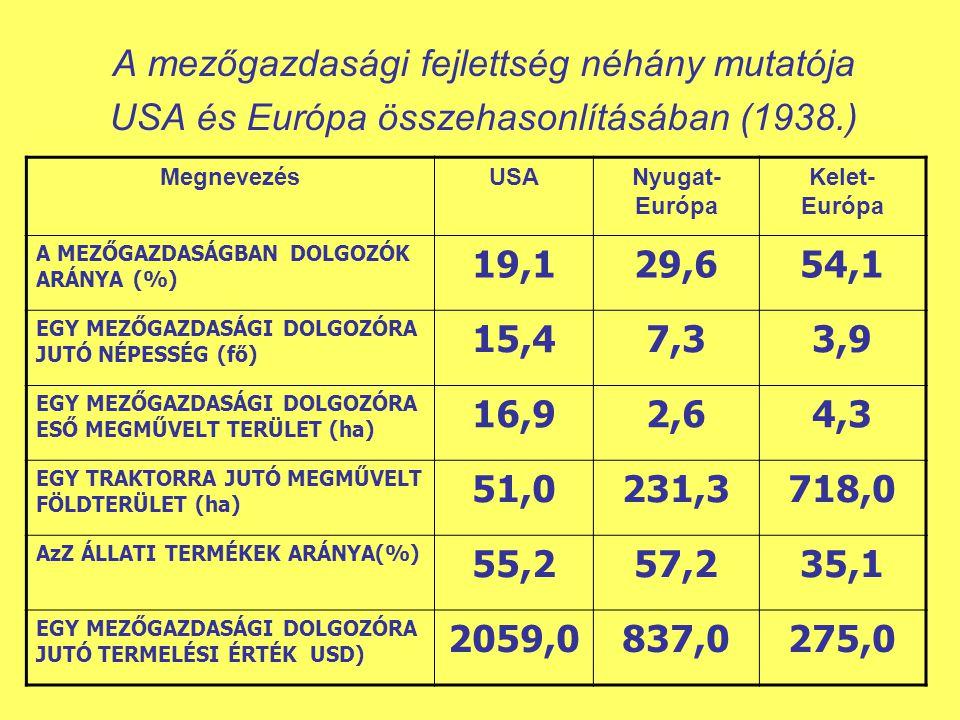 A mezőgazdasági fejlettség néhány mutatója USA és Európa összehasonlításában (1938.) MegnevezésUSANyugat- Európa Kelet- Európa A MEZŐGAZDASÁGBAN DOLGOZÓK ARÁNYA (%) 19,129,654,1 EGY MEZŐGAZDASÁGI DOLGOZÓRA JUTÓ NÉPESSÉG (fő) 15,47,33,9 EGY MEZŐGAZDASÁGI DOLGOZÓRA ESŐ MEGMŰVELT TERÜLET (ha) 16,92,64,3 EGY TRAKTORRA JUTÓ MEGMŰVELT FÖLDTERÜLET (ha) 51,0231,3718,0 AzZ ÁLLATI TERMÉKEK ARÁNYA(%) 55,257,235,1 EGY MEZŐGAZDASÁGI DOLGOZÓRA JUTÓ TERMELÉSI ÉRTÉK USD) 2059,0837,0275,0