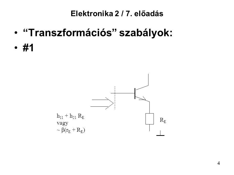 """4 Elektronika 2 / 7. előadás """"Transzformációs"""" szabályok: #1 RERE h 11 + h 21 R E vagy ~ β(r E + R E )"""
