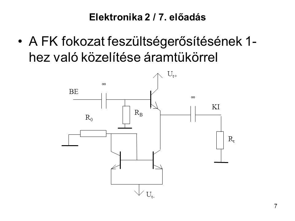 7 Elektronika 2 / 7. előadás A FK fokozat feszültségerősítésének 1- hez való közelítése áramtükörrel BE KI U t+ U t- RBRB R0R0 ∞ ∞ RtRt