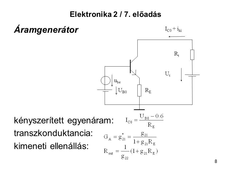 8 Elektronika 2 / 7. előadás Áramgenerátor kényszerített egyenáram: transzkonduktancia: kimeneti ellenállás: RERE I C0 + i ki RtRt UtUt u be U B0