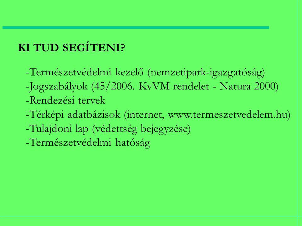 KI TUD SEGÍTENI. -Természetvédelmi kezelő (nemzetipark-igazgatóság) -Jogszabályok (45/2006.